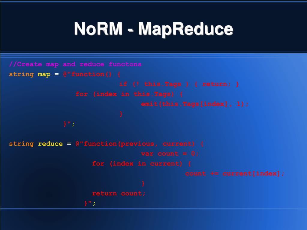 NoRM - MapReduce