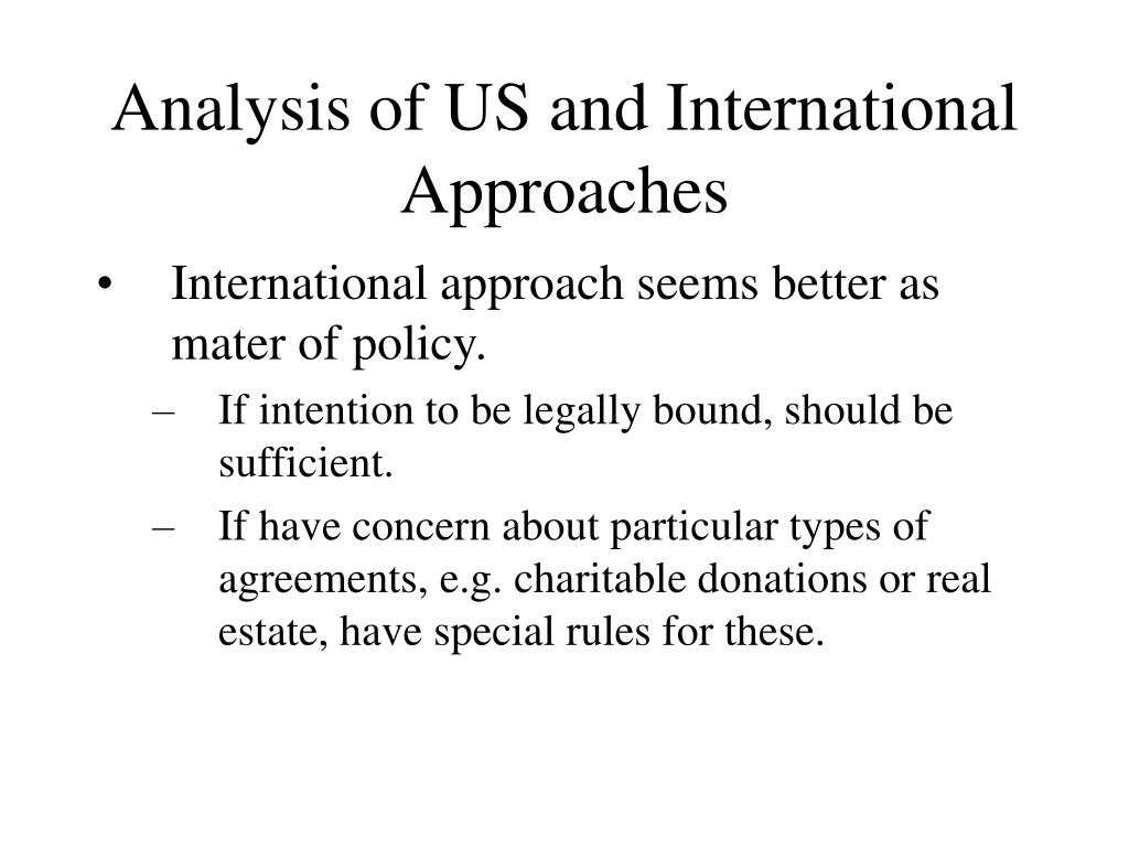 Analysis of US and International Approaches