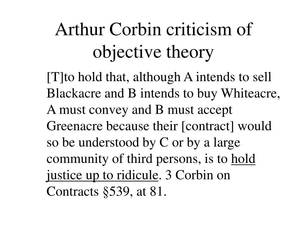 Arthur Corbin criticism of objective theory