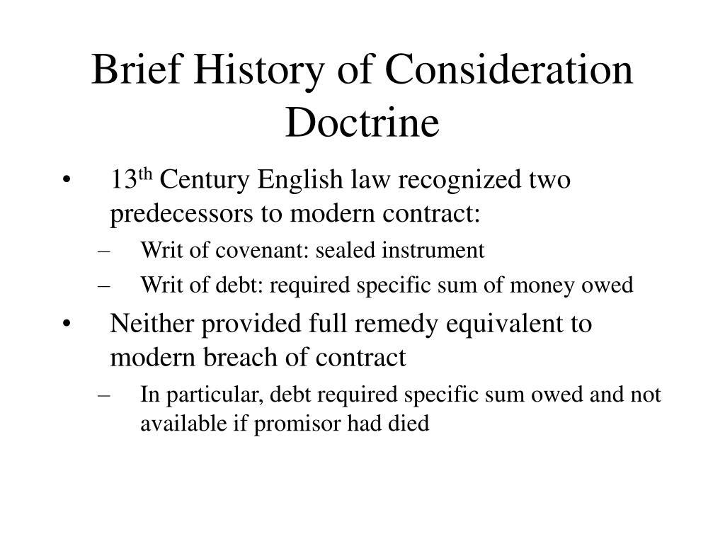 Brief History of Consideration Doctrine