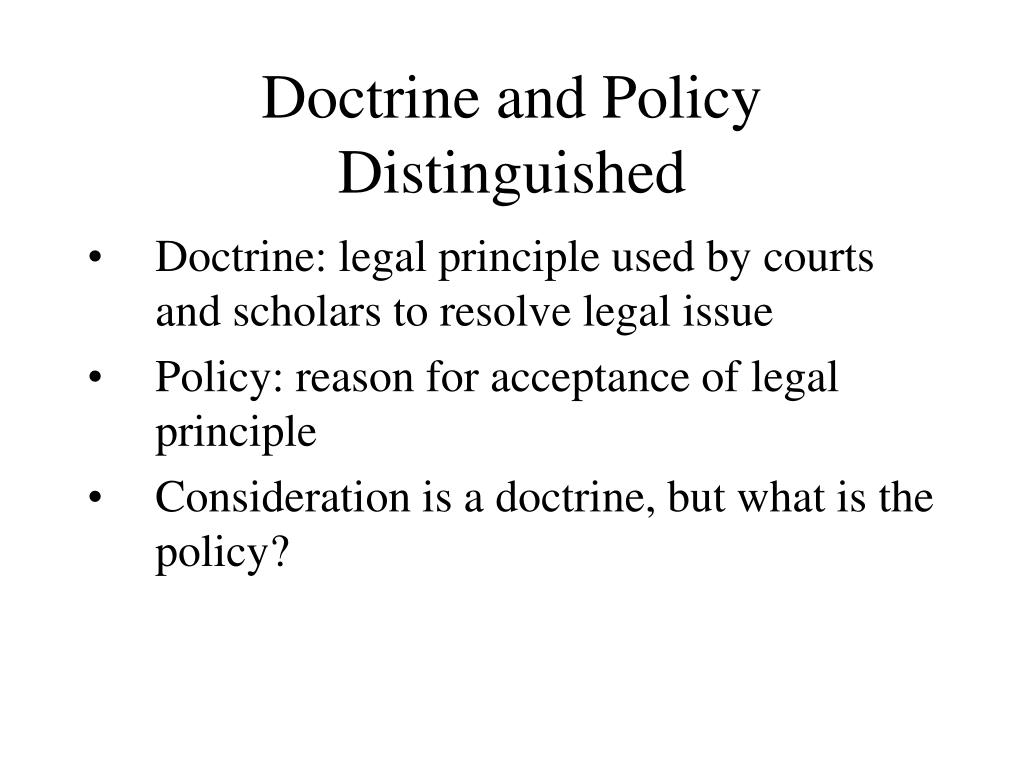 Doctrine and Policy Distinguished