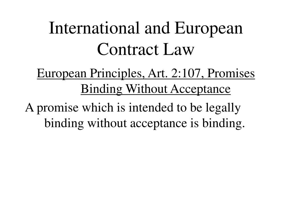 International and European Contract Law