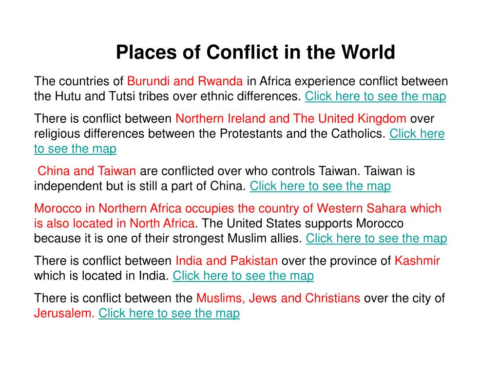 Places of Conflict in the World