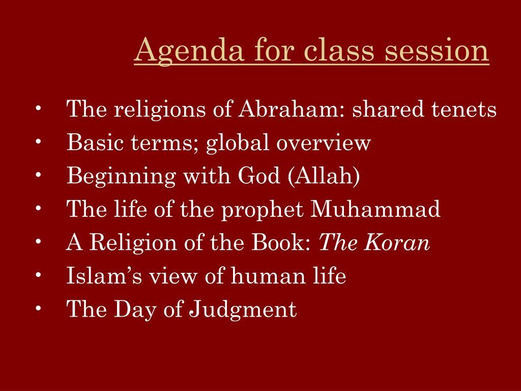 Agenda for class session