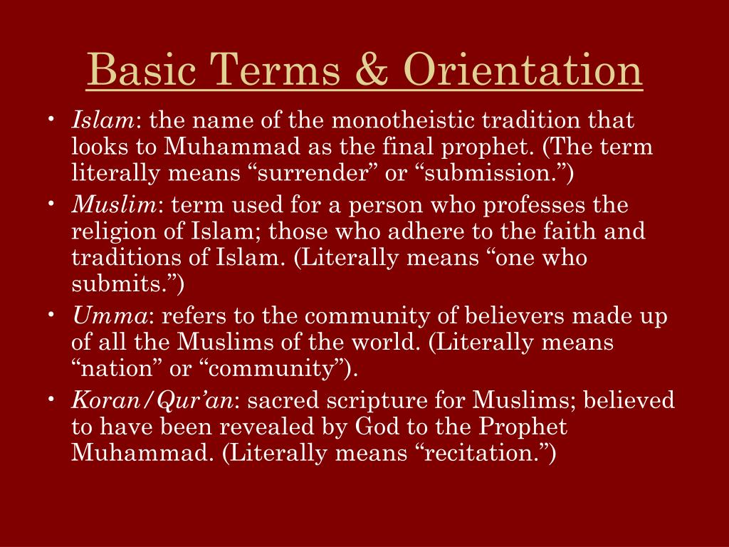 Basic Terms & Orientation