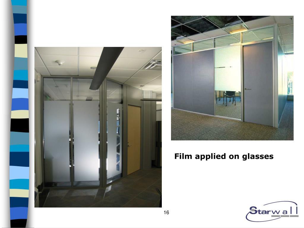 Film applied on glasses