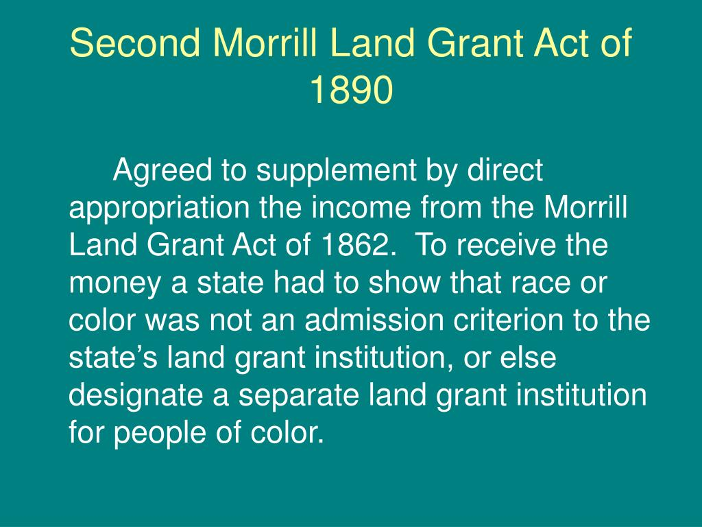 an analysis of the land grant act Below are statements and letters outlining concerns with the prosper act: resources summary of the house prosper act association of public and land-grant.