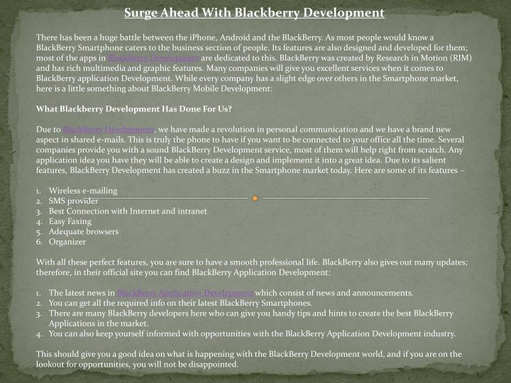 Surge Ahead With Blackberry Development