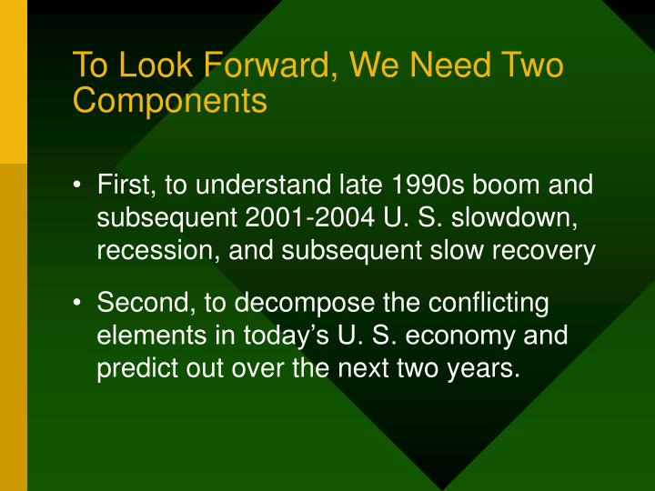To look forward we need two components