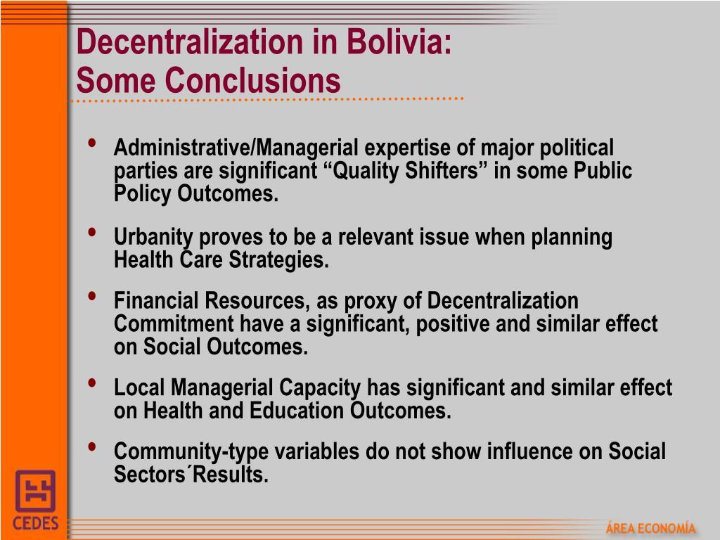 Decentralization in Bolivia: