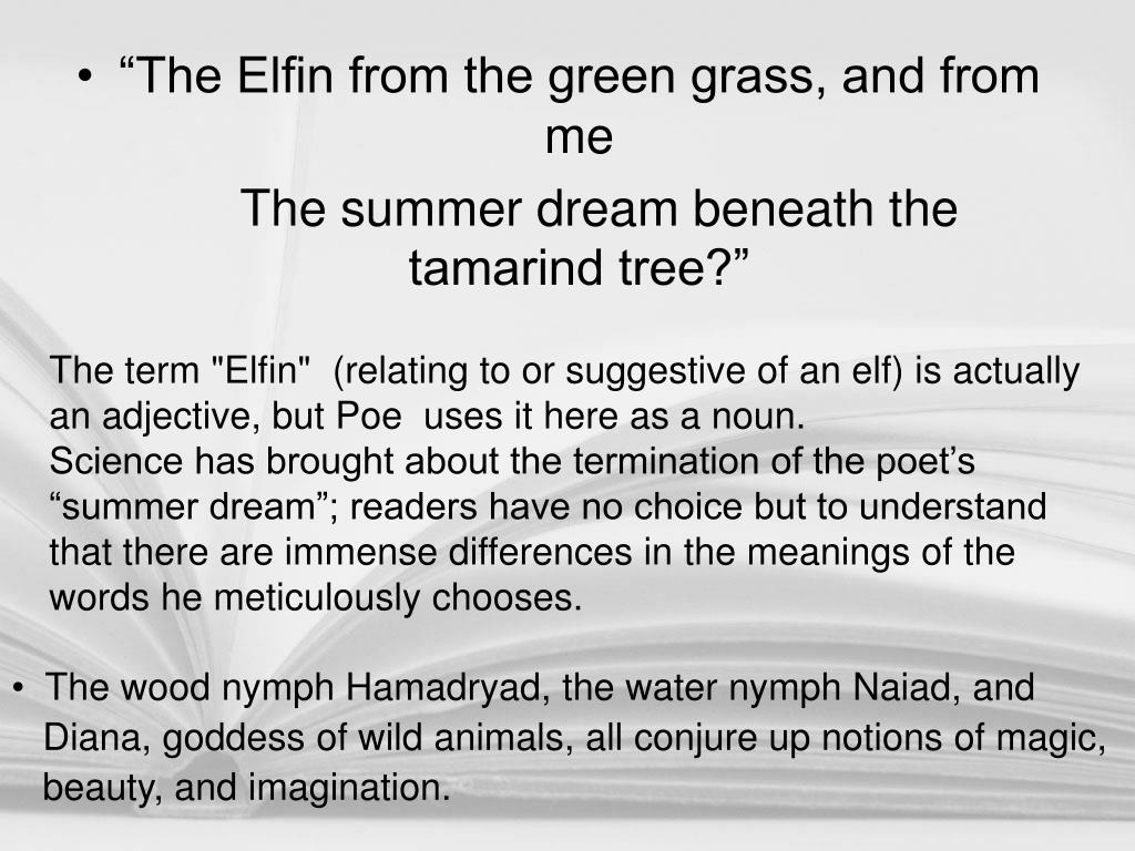 """The Elfin from the green grass, and from me"