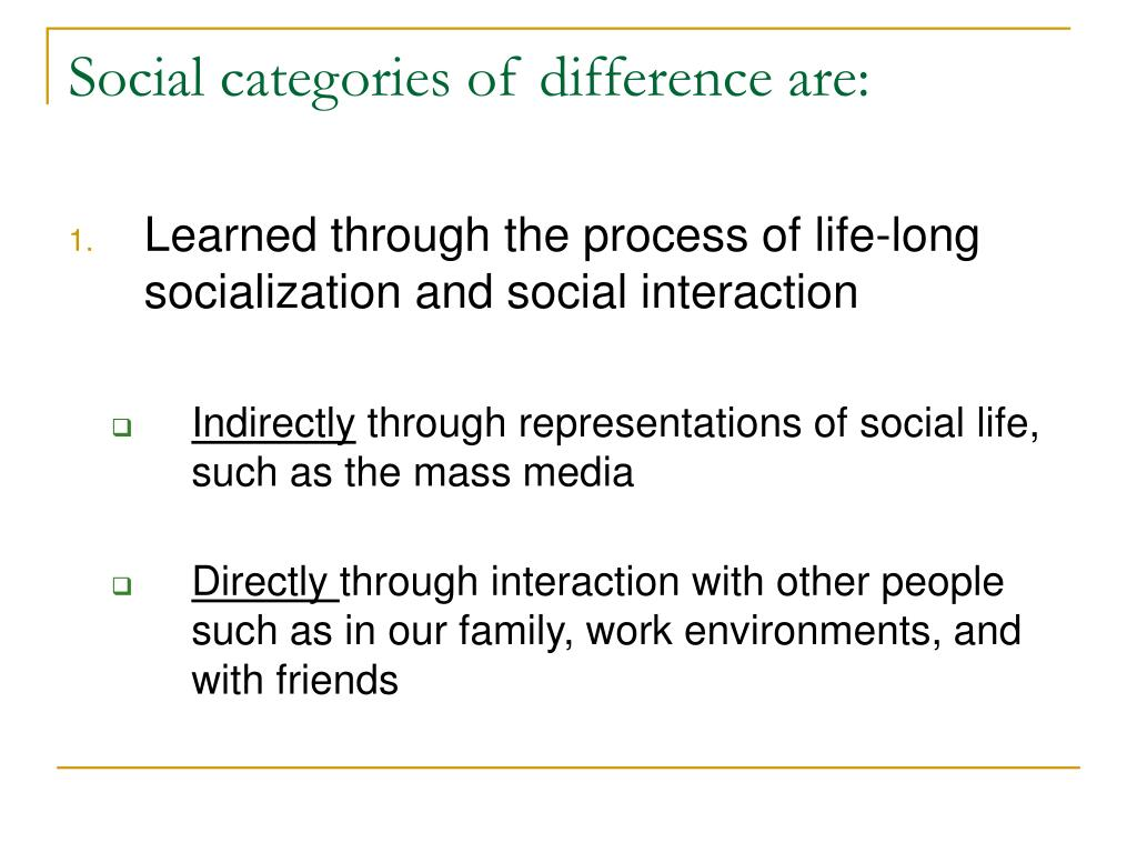 Social categories of difference are: