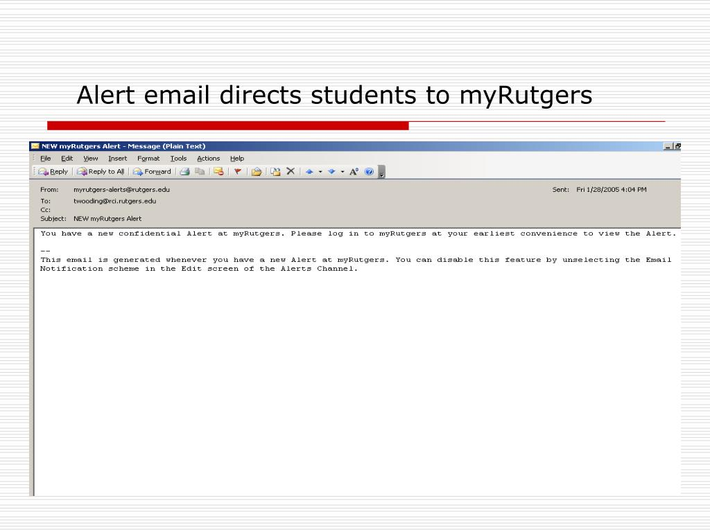 Alert email directs students to myRutgers