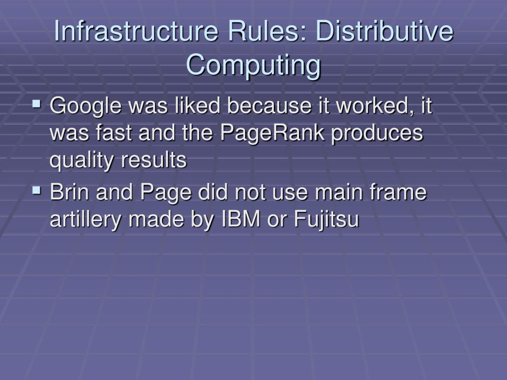 Infrastructure Rules: Distributive Computing