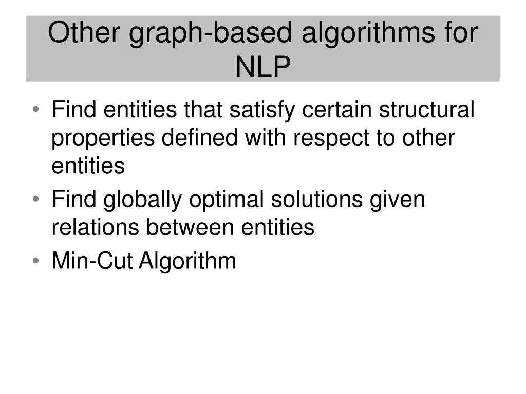 Other graph-based algorithms for NLP