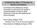 underlining idea a process of recommendation