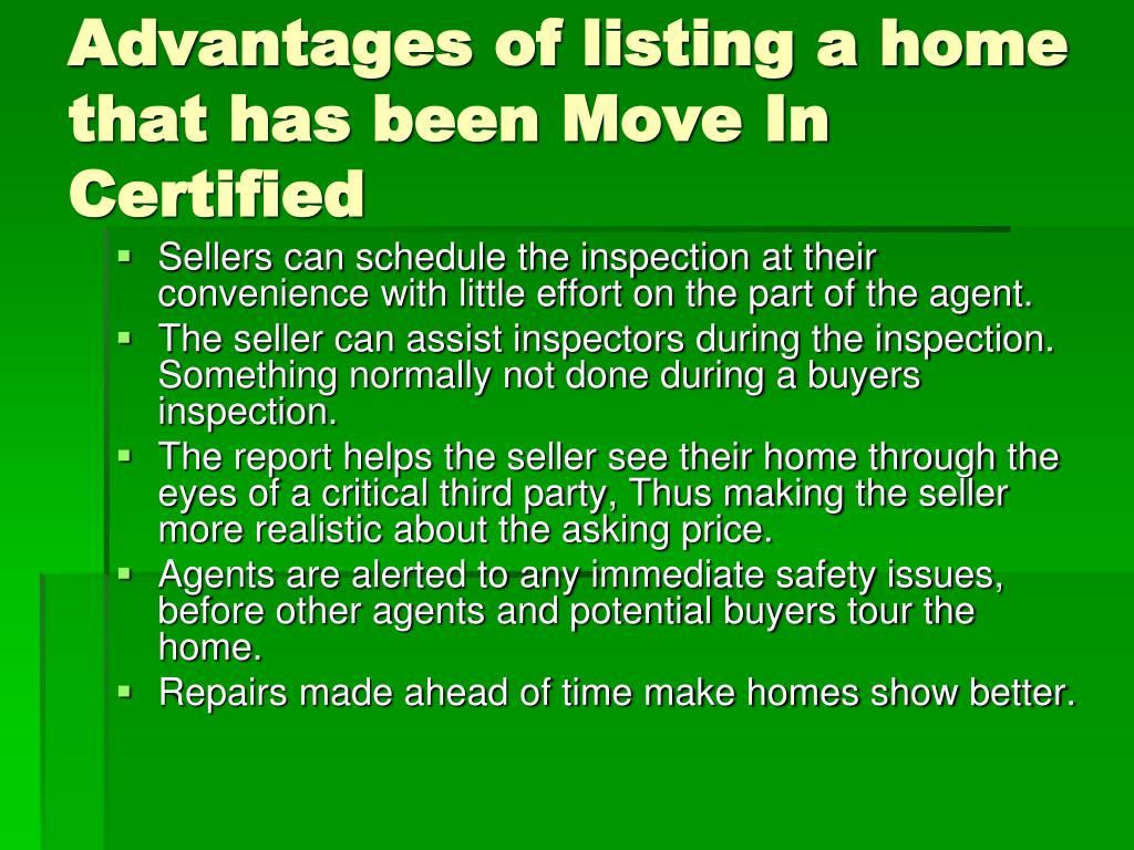 Advantages of listing a home that has been Move In Certified