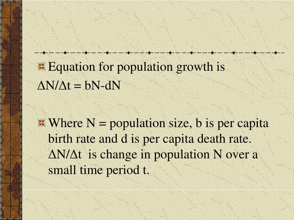 Equation for population growth is