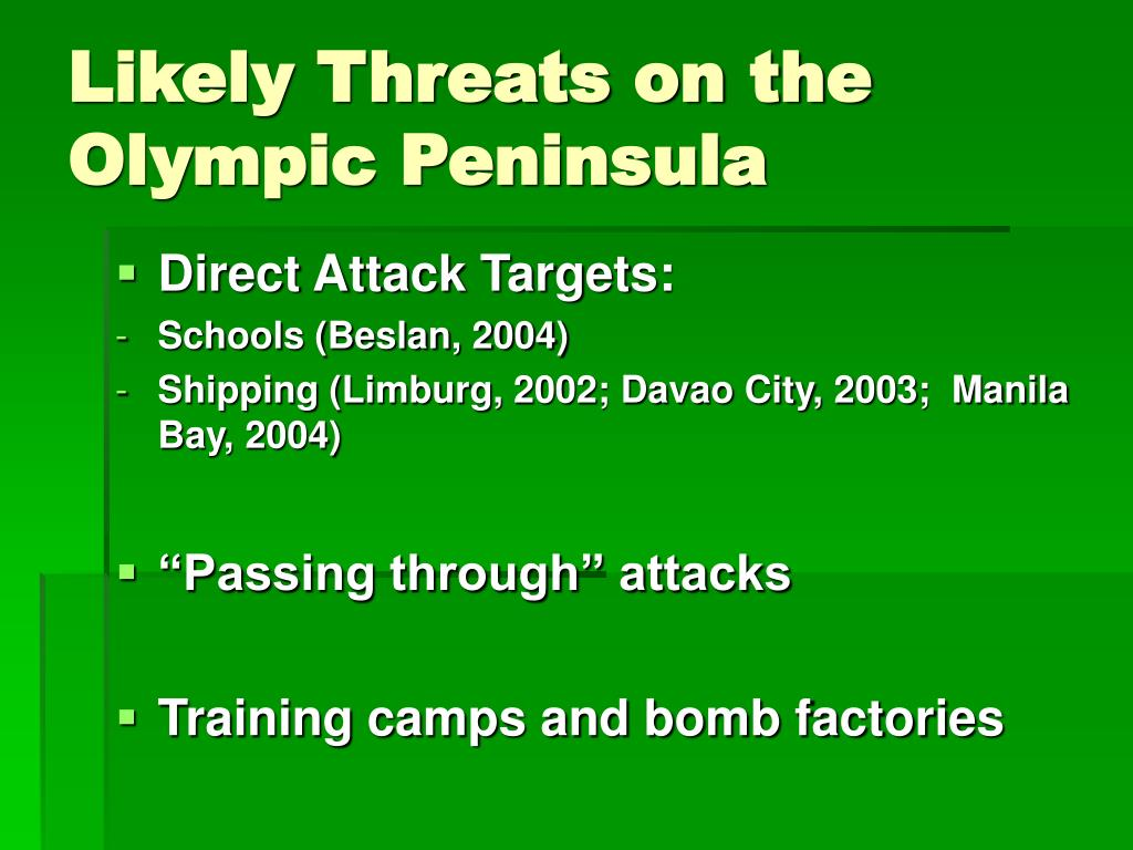 Likely Threats on the Olympic Peninsula