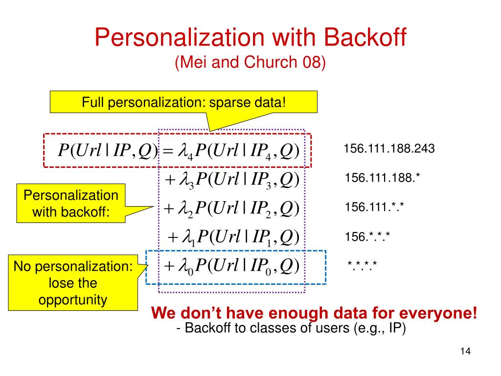 Personalization with Backoff