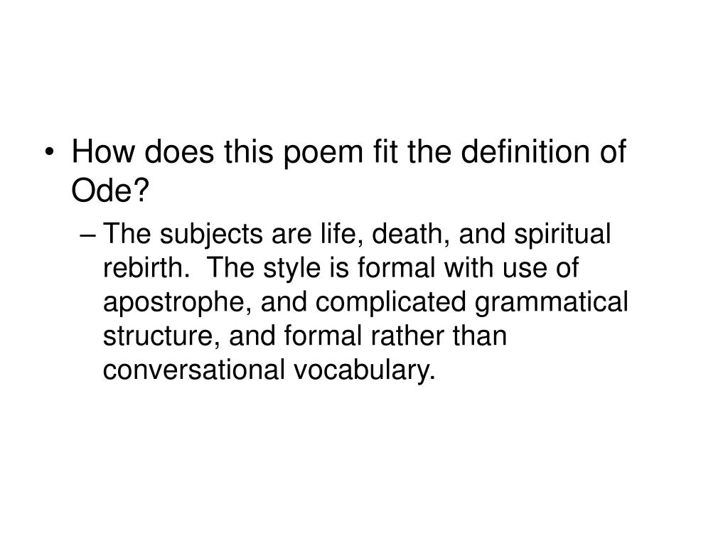 How does this poem fit the definition of Ode?