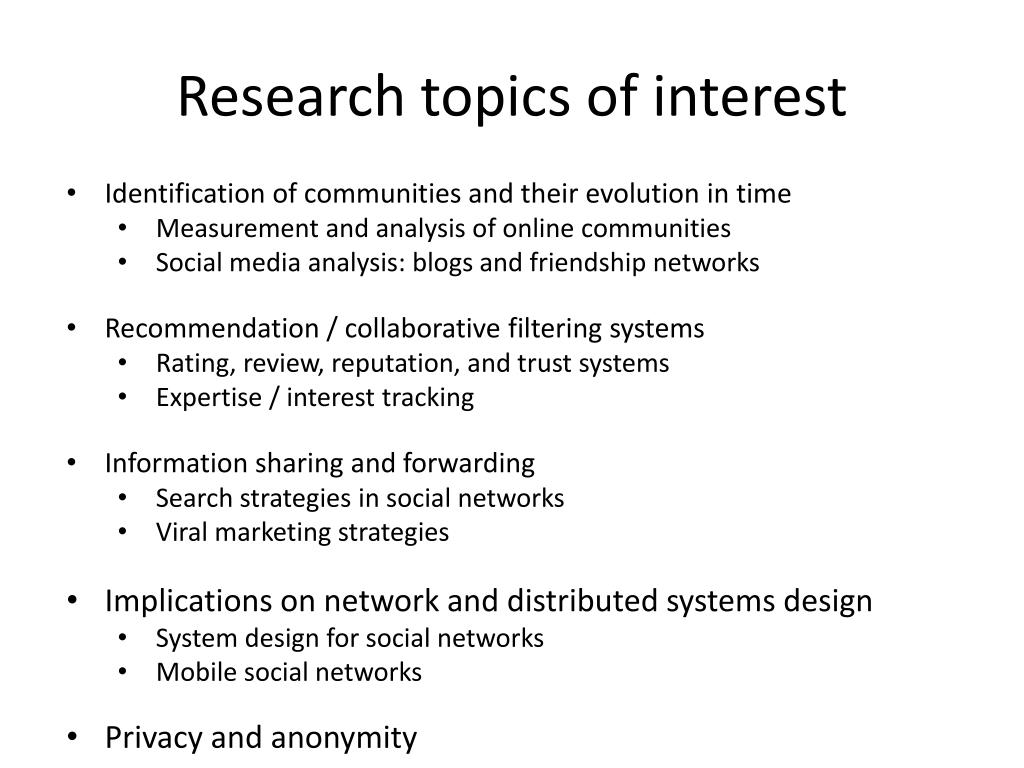 Research topics of interest