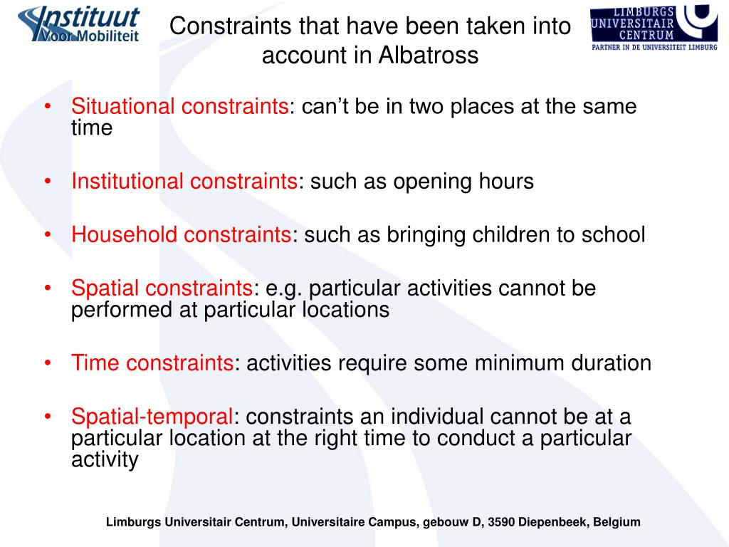 Constraints that have been taken into account in Albatross