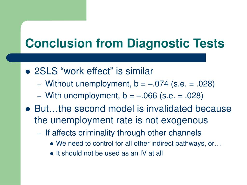 Conclusion from Diagnostic Tests