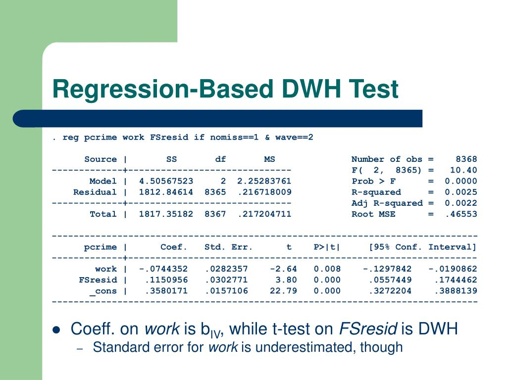 Regression-Based DWH Test