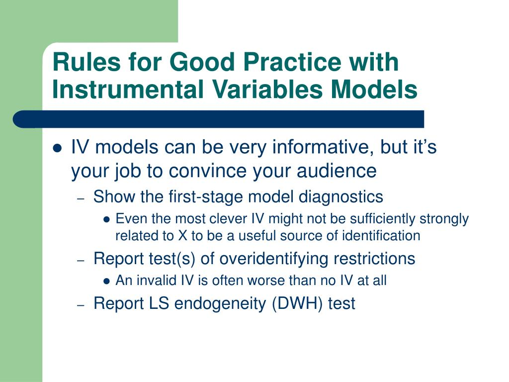Rules for Good Practice with Instrumental Variables Models