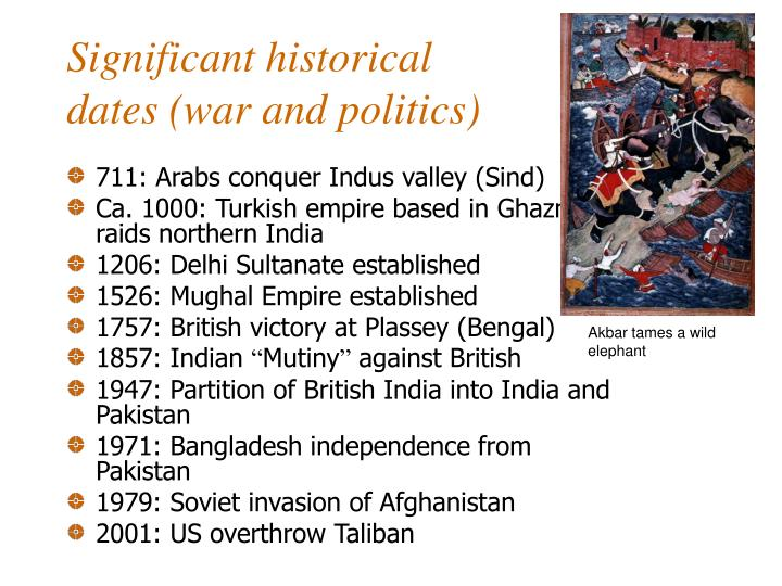Significant historical dates war and politics