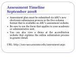 assessment timeline september 2008