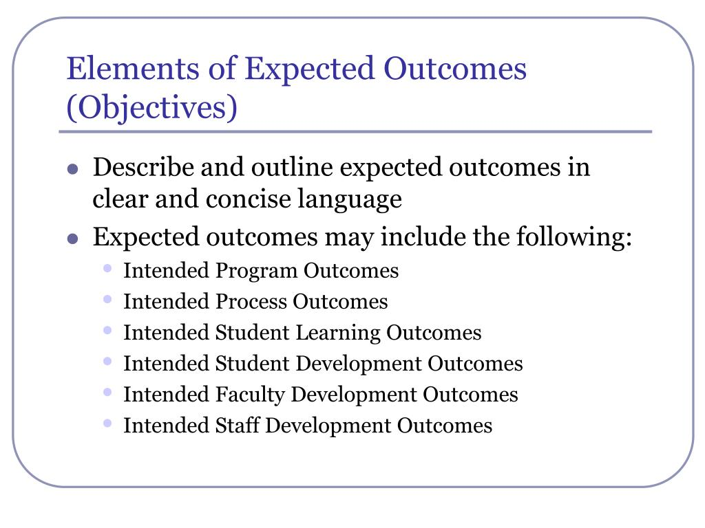 Elements of Expected Outcomes (Objectives)