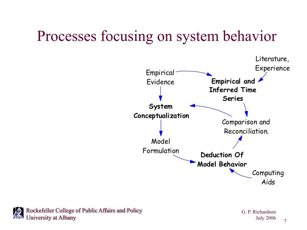 Processes focusing on system behavior
