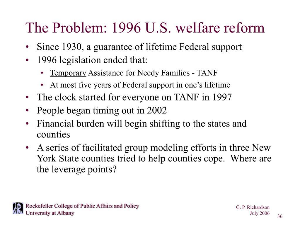 The Problem: 1996 U.S. welfare reform