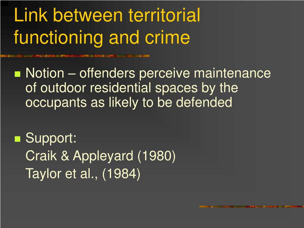 Link between territorial functioning and crime