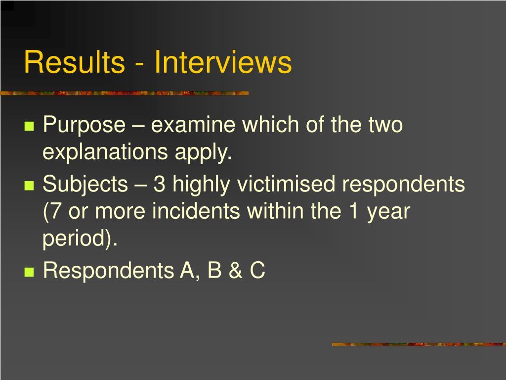Results - Interviews