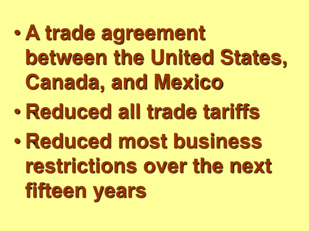 A trade agreement between the United States, Canada, and Mexico