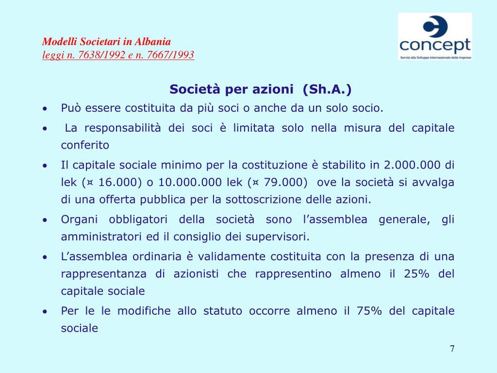 Modelli Societari in Albania