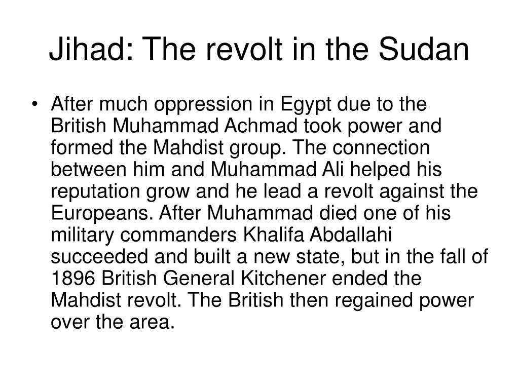 Jihad: The revolt in the Sudan