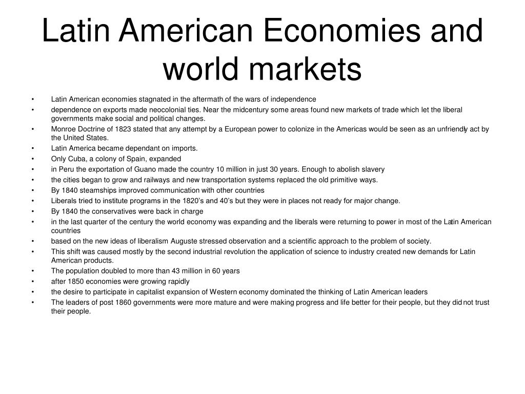 Latin American Economies and world markets