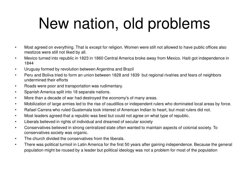 New nation, old problems