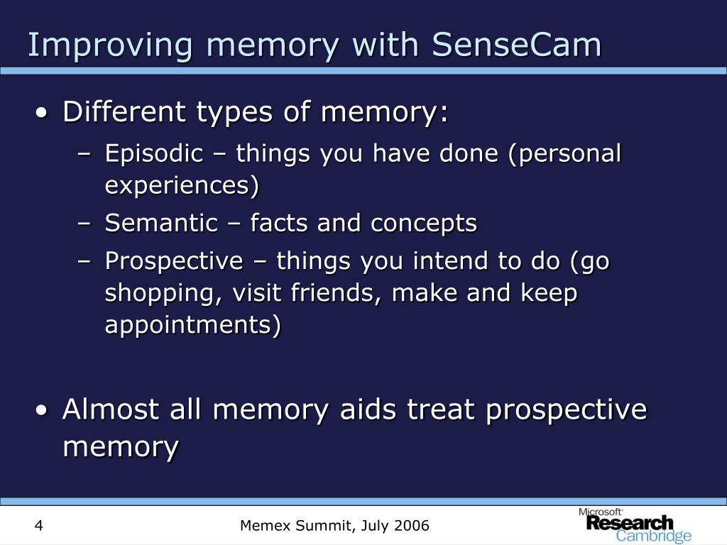 Improving memory with SenseCam