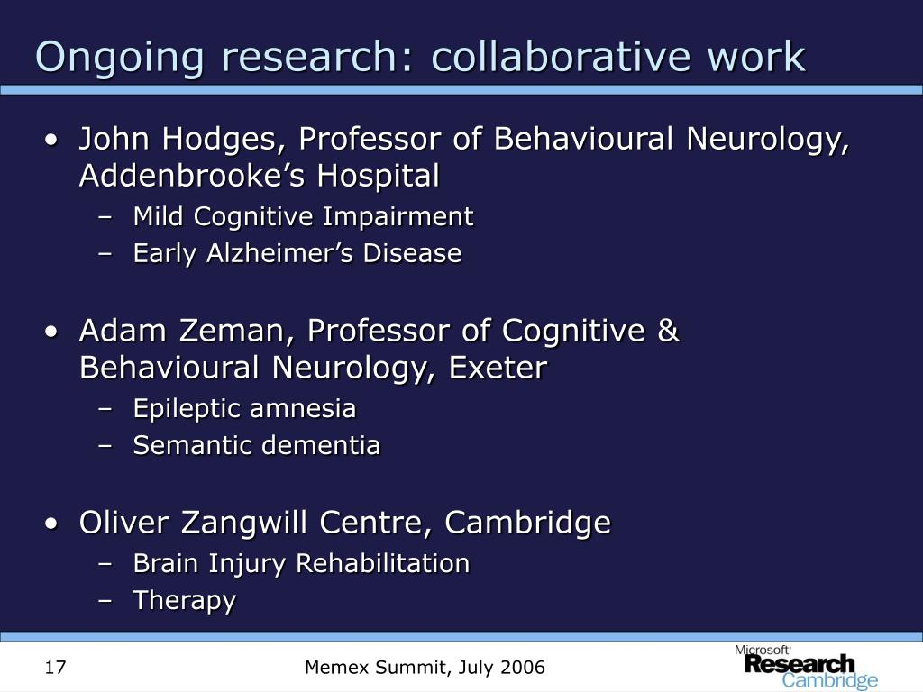 Ongoing research: collaborative work