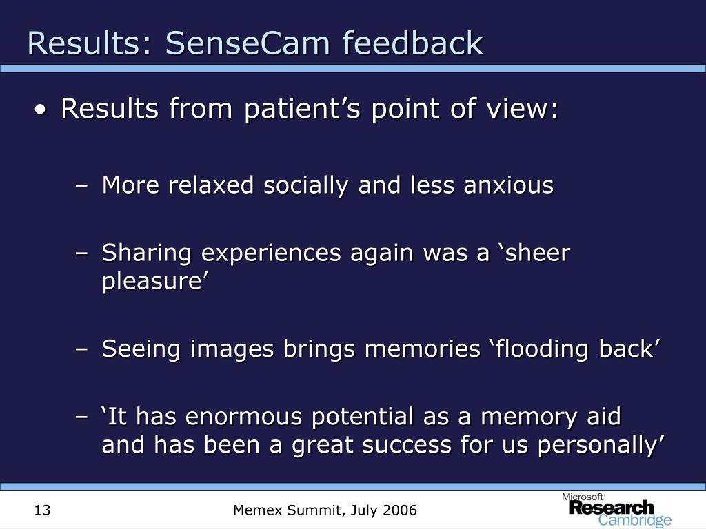 Results: SenseCam feedback