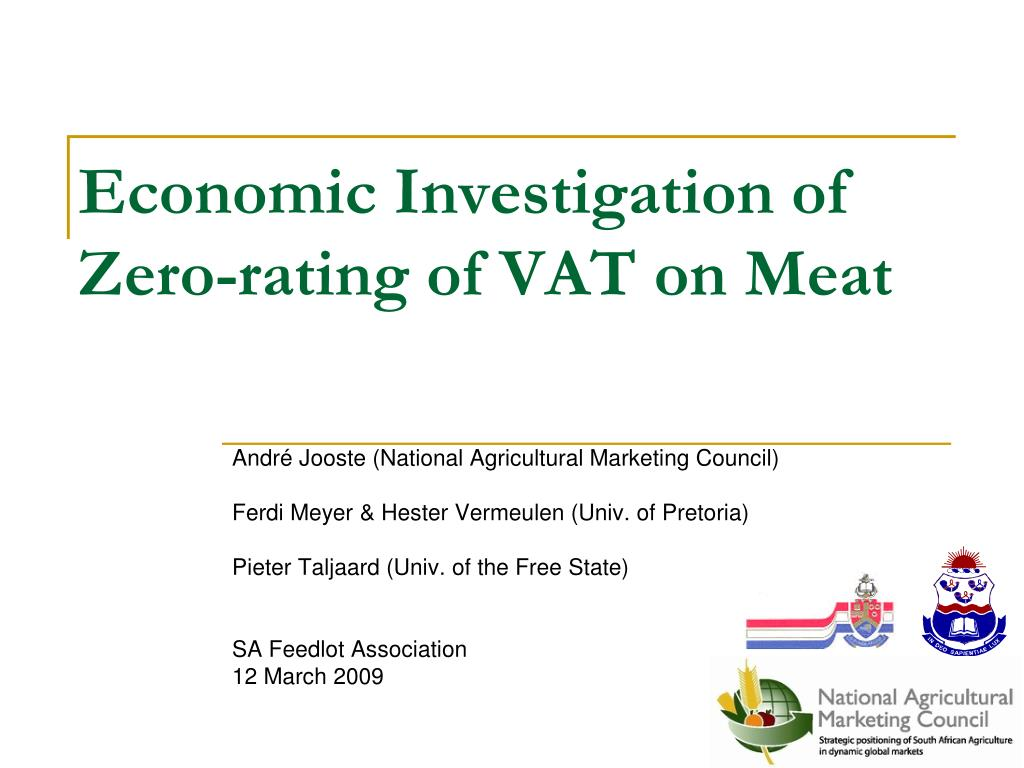 Economic Investigation of Zero-rating of VAT on Meat