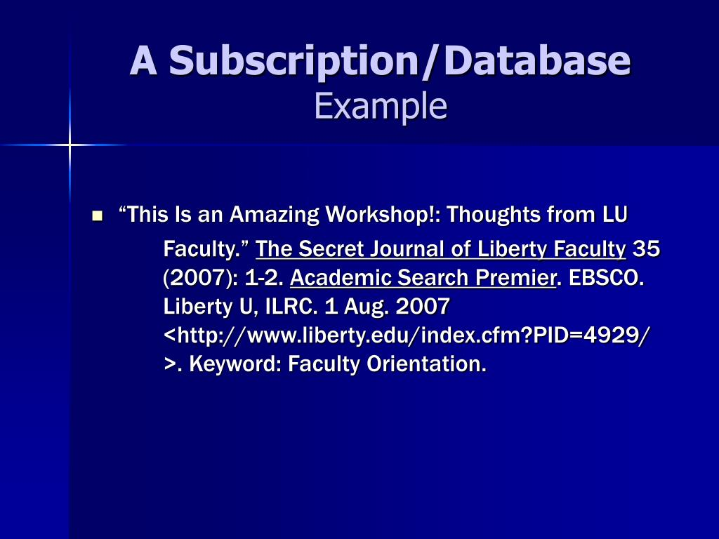 A Subscription/Database