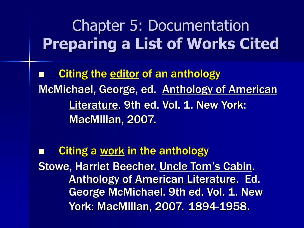 Chapter 5: Documentation