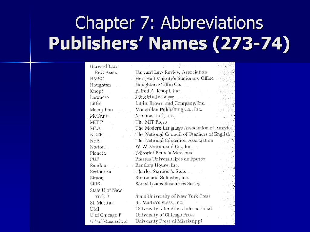 Chapter 7: Abbreviations
