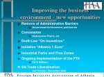 improving the business environment new opportunities